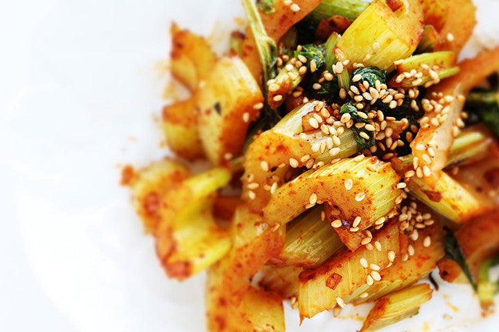 Celery Stir Fried in Gochujang Sauce