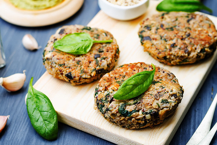 Eggplant, Spinach and Chickpea Burgers