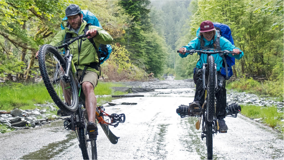 Two mountainbikers.