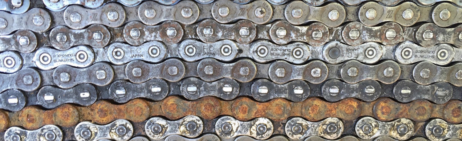 rows of bike chain with different finishes bike chain art