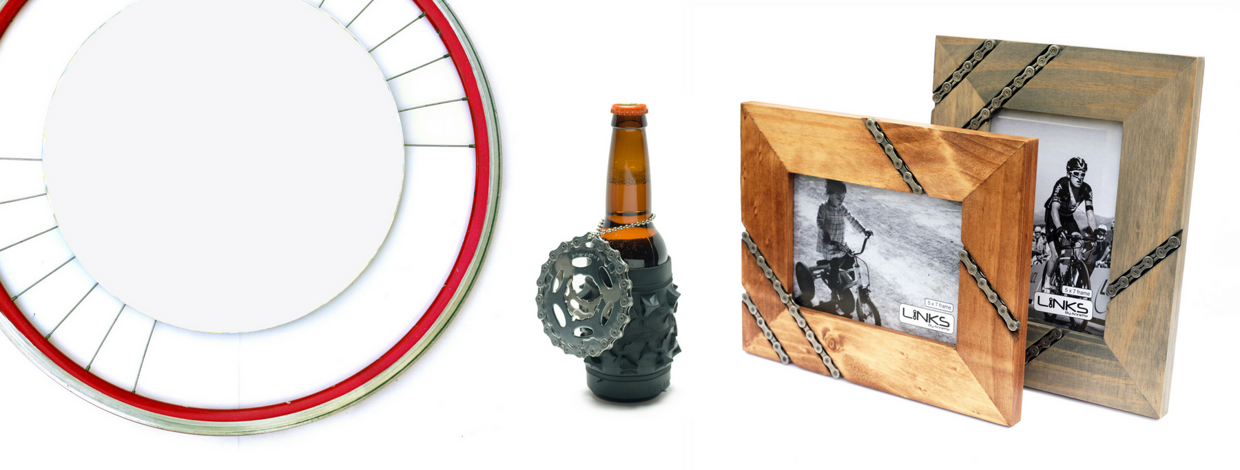 repurposed bicycle parts made awesome red bike rim mirror with spokes knobby mountain bike tire koozie gear bottle opener bike chain picture frames