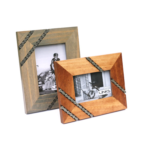 Cycling Chain Picture Frame, 4x6 or 5x7, Home goods, bike art, chicago, recycled bike parts, Bike gifts, LINKS by Annette