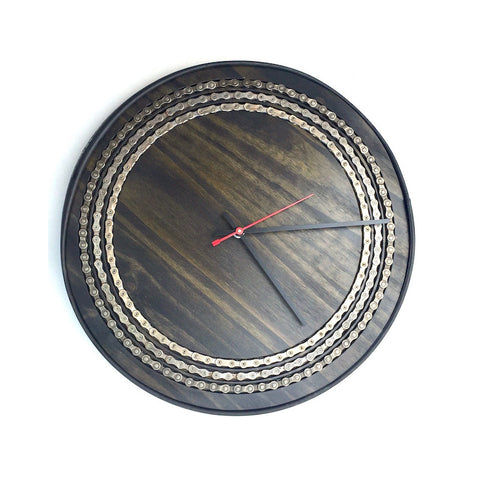 "14.5"" Black Wooden Clock with Bike Chain Inlay, Clocks, [collection], LINKS by Annette"