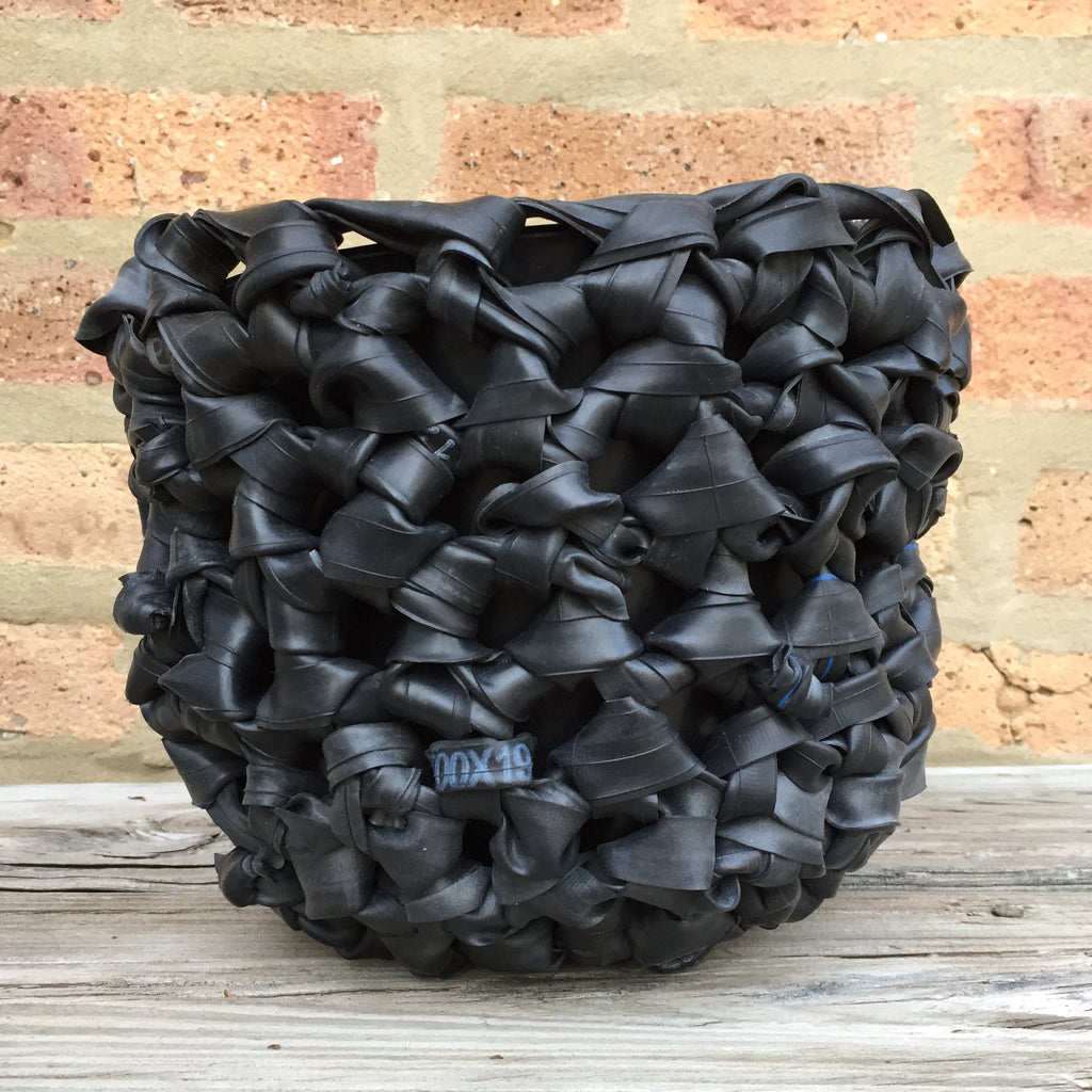Inner Tube Crocheted Rubber Planter, Home goods, elevated, upcycled, unique, handmade, chicago, bike parts, Bike gifts, LINKS by Annette