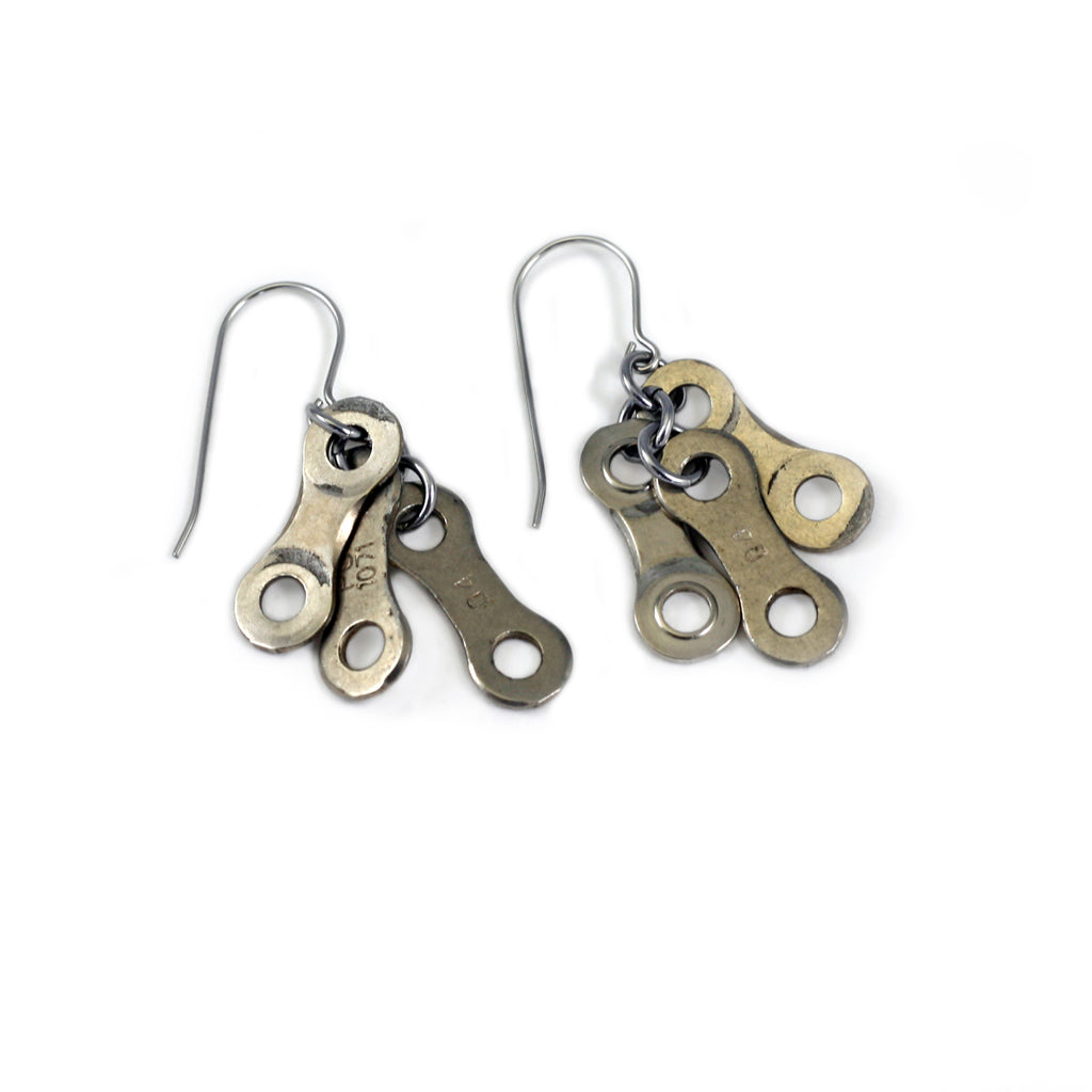 Bike Chain Links Earrings, Bike Jewelry, elevated, upcycled, unique, handmade, chicago, bike parts, Bike gifts, LINKS by Annette