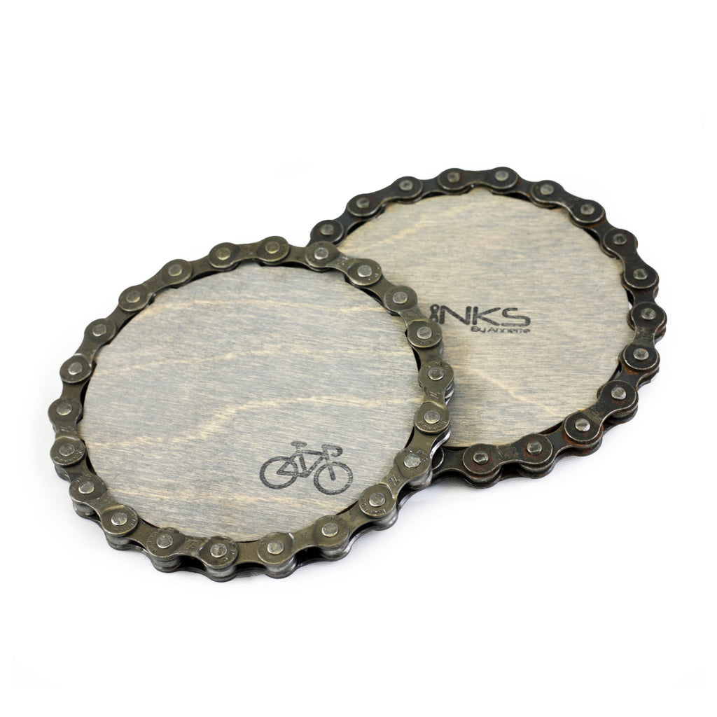 Bike Coasters, Upcycled Chain, Home goods, elevated, upcycled, unique, handmade, chicago, bike parts, Bike gifts, LINKS by Annette