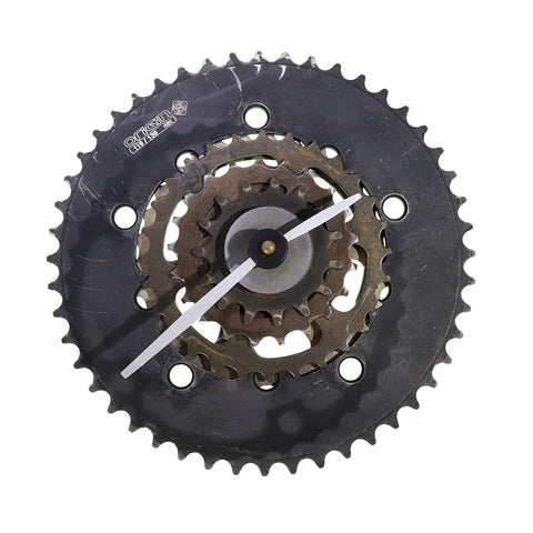 Gear Clock, Black with White Arms, Clocks & Mirrors, elevated, upcycled, unique, handmade, chicago, bike parts, Bike gifts, LINKS by Annette