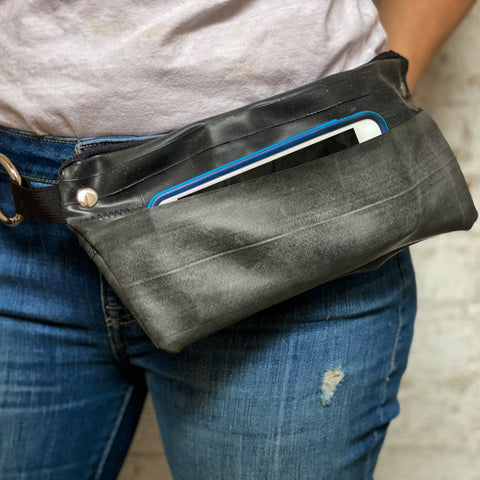 Inner Tube Waist Pack / Crossbody Bag, Small things, elevated, upcycled, unique, handmade, chicago, bike parts, Bike gifts, LINKS by Annette
