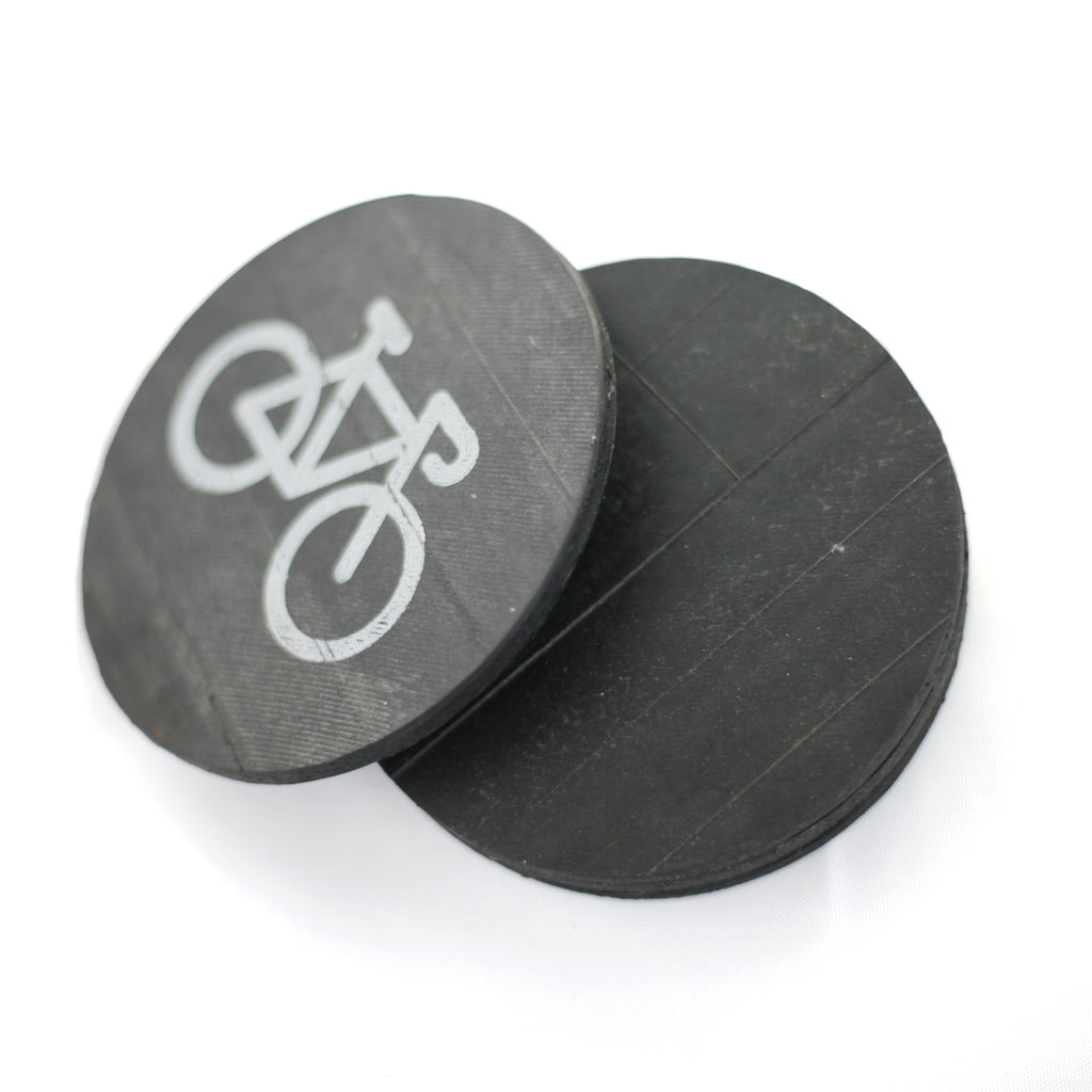 Bike Coasters, Inner Tube, Home goods, elevated, upcycled, unique, handmade, chicago, bike parts, Bike gifts, LINKS by Annette