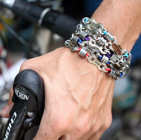 Dissected Bike Chain Roller Bracelet - Custom, Bike Jewelry, bike art, chicago, recycled bike parts, Bike gifts, LINKS by Annette