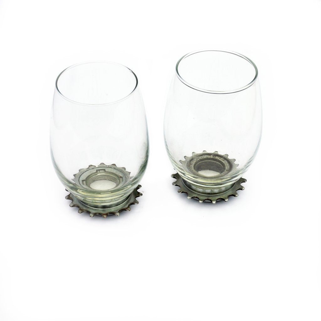 Bike Fixie Gear Wine Glasses, set of two, Home goods, bike art, chicago, recycled bike parts, Bike gifts, LINKS by Annette