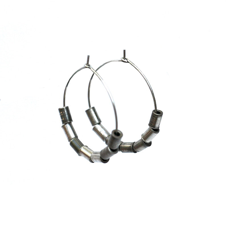 Recycled Rivet Hoop Earrings