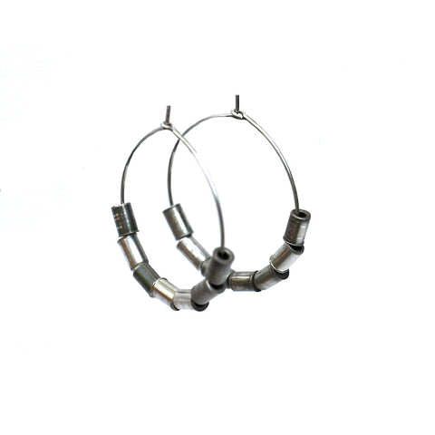 Recycled Rivet Hoop Earrings, Bike Jewelry, elevated, upcycled, unique, handmade, chicago, bike parts, Bike gifts, LINKS by Annette