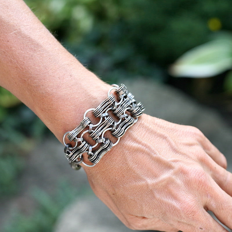 Bike Chain Triple Stack Bracelet, Unisex, Bike Jewelry, elevated, upcycled, unique, handmade, chicago, bike parts, Bike gifts, LINKS by Annette
