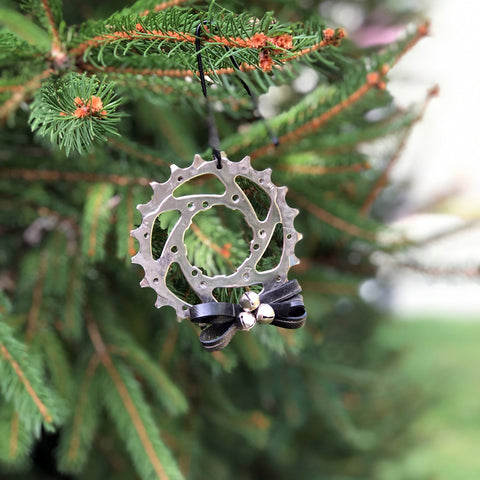 Gear and Tube Tree Ornament, Home goods, elevated, upcycled, unique, handmade, chicago, bike parts, Bike gifts, LINKS by Annette
