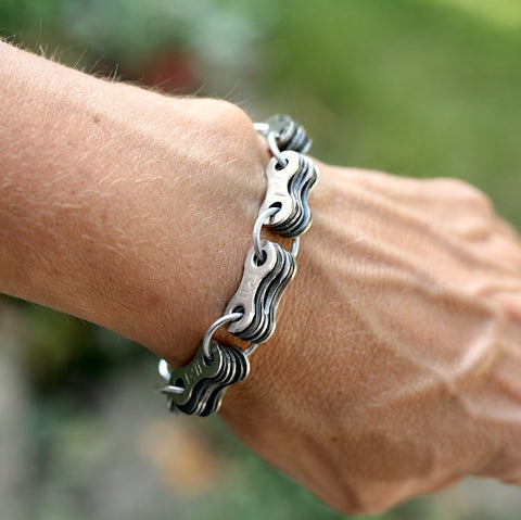 Bike Chain Stack Bracelet, Unisex, Bike Jewelry, bike art, chicago, recycled bike parts, Bike gifts, LINKS by Annette