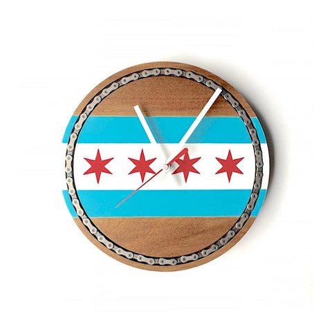 "10"" Hand Painted Wooden Chicago Flag clock with Bike Chain Inlay"