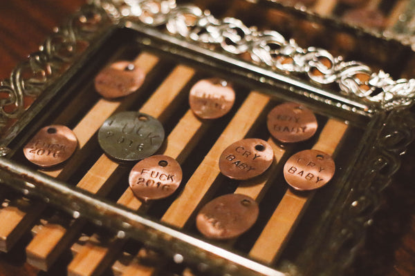 Custom Stamped Hand-rolled Penny Tags.