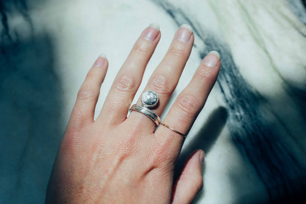 Howlite Moon Shine Ring