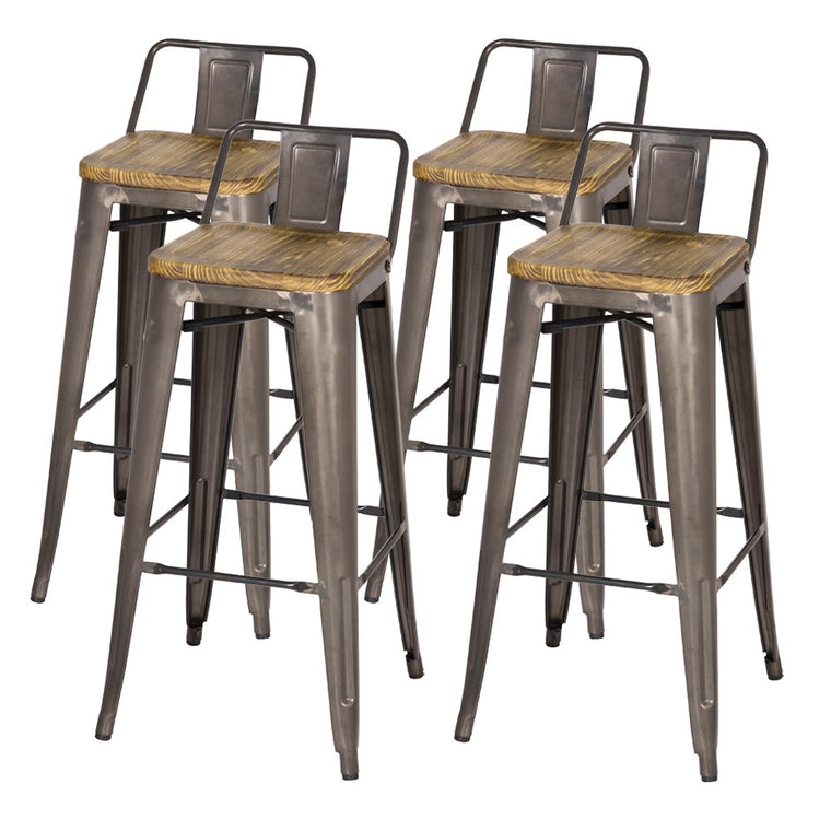 "Set of 4- Industrial Metal Counter Stools- 26"" Seat Height"