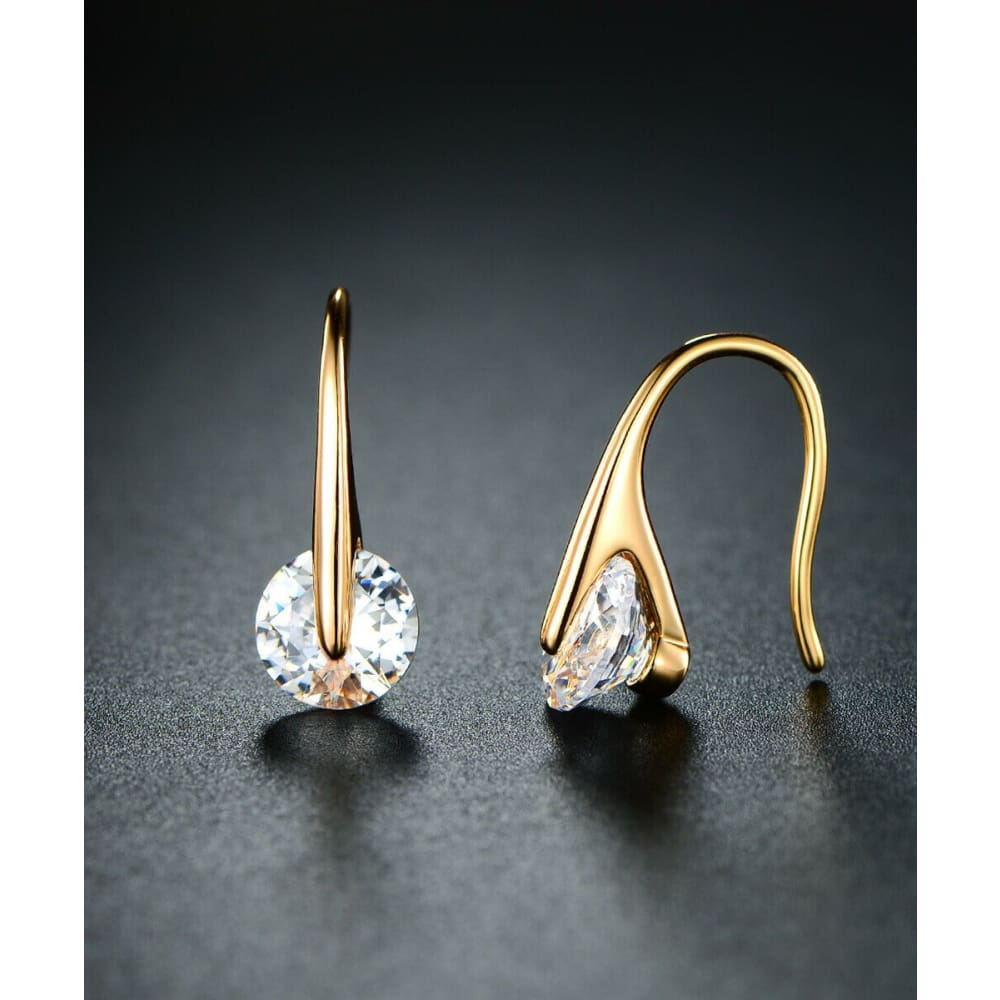 18K Gold Plated Floating Drop Earrings With Swarovski Elements