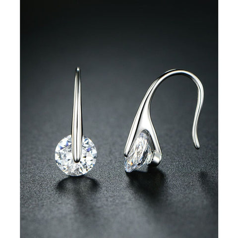 18K White Gold Plated Floating Drop Earrings With Swarovski Elements