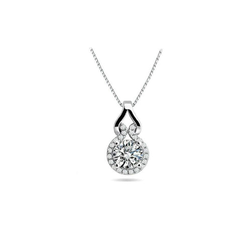 18k White Gold Plated Love Knot Crystal Necklace Made With Swarovski Elements