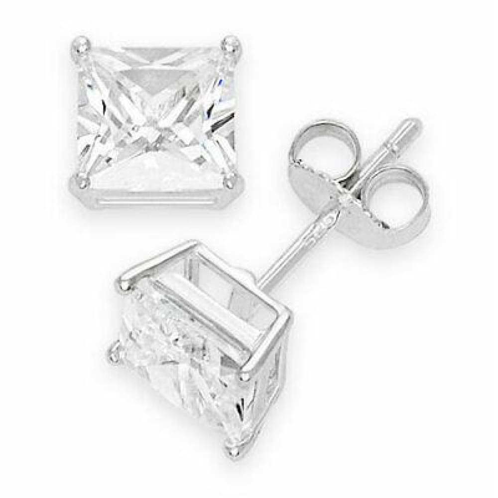 18K White Gold Plated Princess Cut Crystal  CZ Stud Earrings