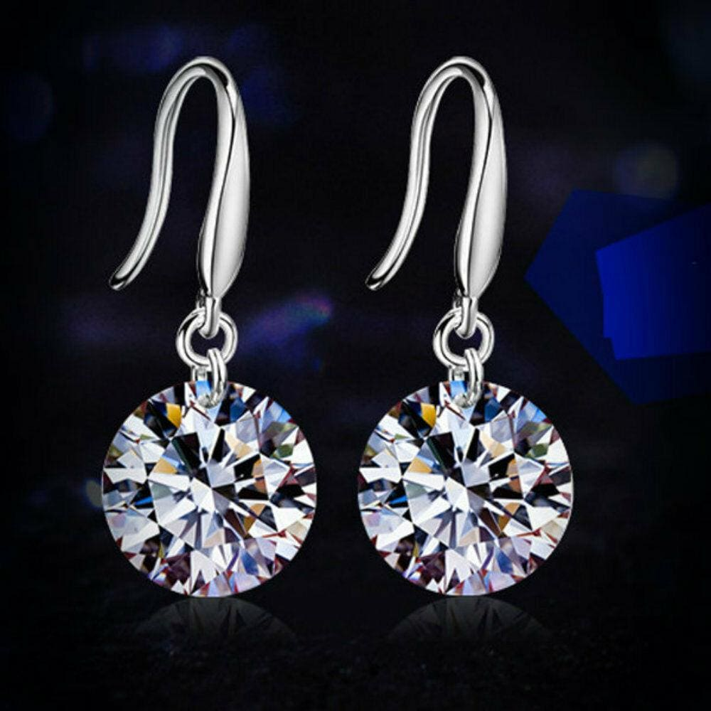 18K White Gold Plated Threader Drop Dangle Hook Earrings Drop Dangle CZ Earrings