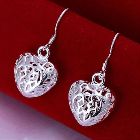 925 Sterling Silver Filigree Heart Drop Dangle Hook Earrings