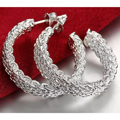 925 Sterling Silver Mesh Hoop Earrings