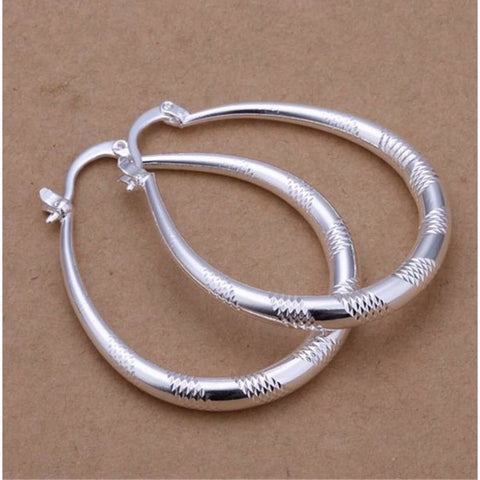 925 Sterling Silver Oval Striped Etched Hoop Pierced Earrings