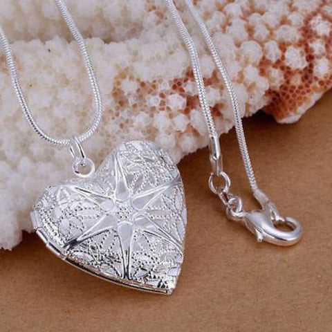 "925 Sterling Silver Plated Heart Necklace, Locket Photo Pendant 18"" Inches"