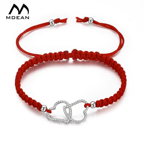 Double Heart CZ Crystal Rope Bracelet