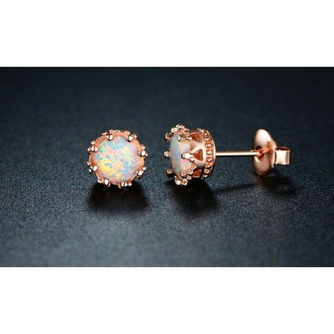Fire Opal Crown Stud Earrings in 18K Rose Gold Plated