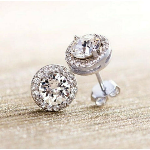 Halo Round cut Simulated Crystal Silver Jacket stud post Earrings