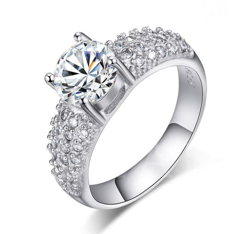 Luxury Round Silver Engagement Ring