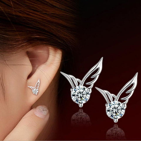 Sterling Silver Crystal Angel Wings Stud Earrings