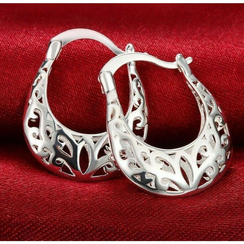 Vintage small oval hoop 18K White Gold Plated filigree earrings 3/4""