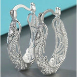 Women 925 Sterling Silver Filigree Round Oval Unique Hoop Earrings