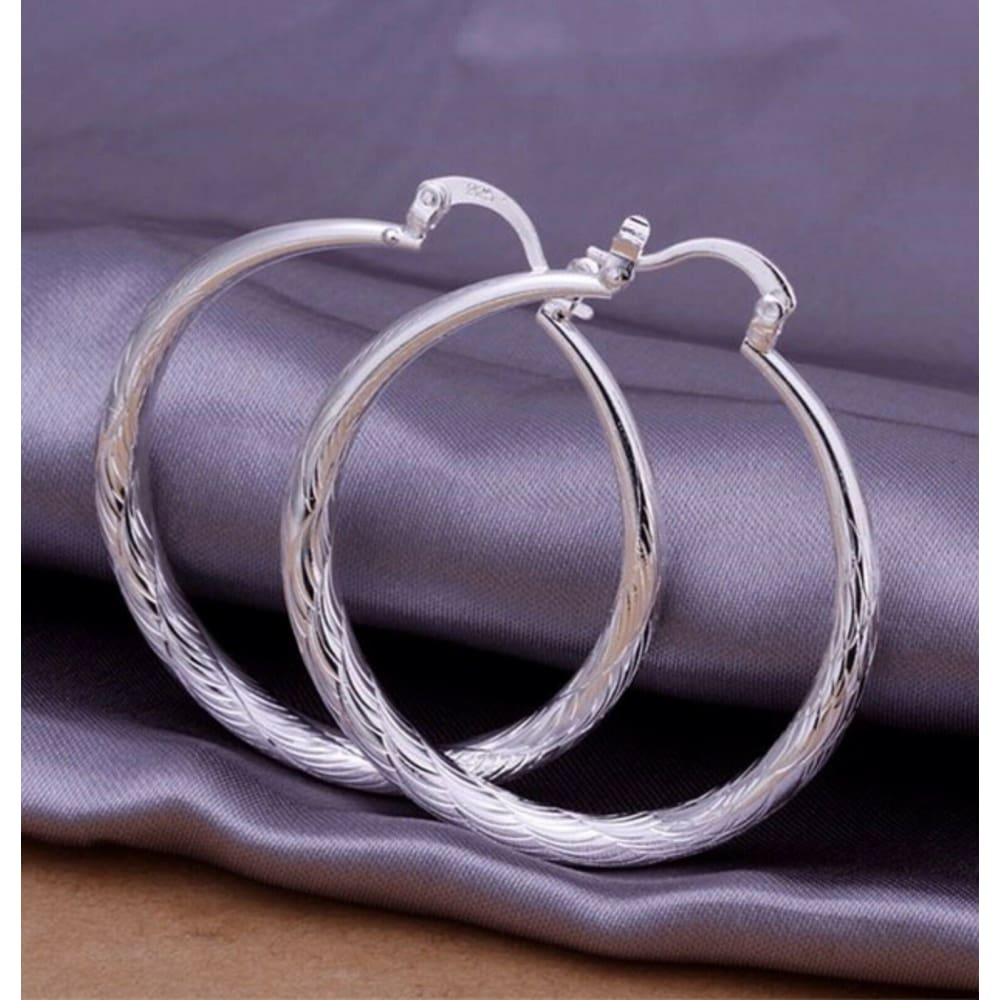 "Women's 925 Sterling Silver 2"" Medium Round Diamond Cut Etched Hoop Earrings"