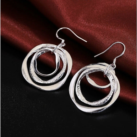 Women's 925 Sterling Silver Circles In Circles Abstr Art Dangle Hook Earrings