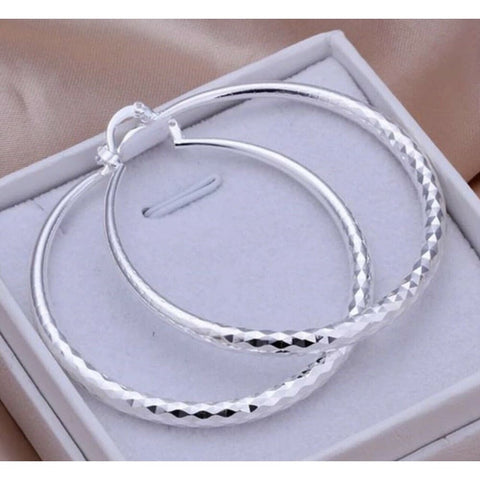 "Women's 925 Sterling Silver Diamond Cut Hoops Big Stylish 2"" Inch Earrings"