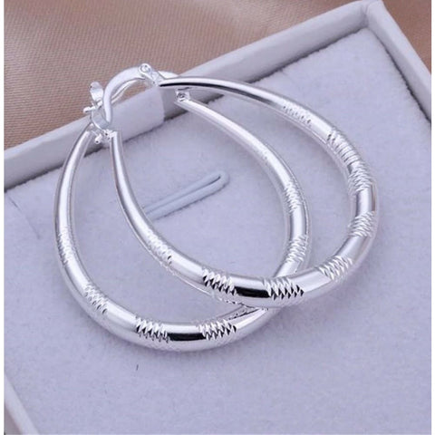 Women's 925 Sterling Silver Oval Striped Etched Hoop Pierced Earrings