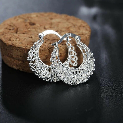 Womens 925 Sterling Silver Round Classic Filigree Hoop Earrings 1.1 inch