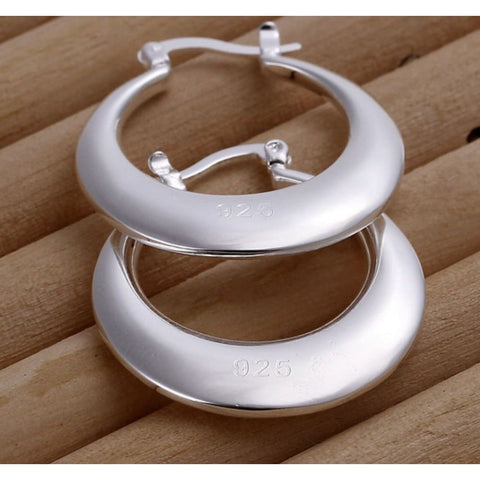 Women's 925 Sterling Silver Round Smooth Crescent Moon Hoop Earrings 1.1 inch
