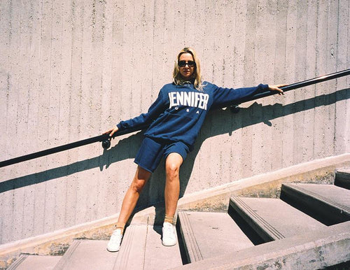 """PUFFY"" GIRLFRIEND HOODIE & ""WEEKEND"" SHORTS SET :: HEATHERED NAVY"