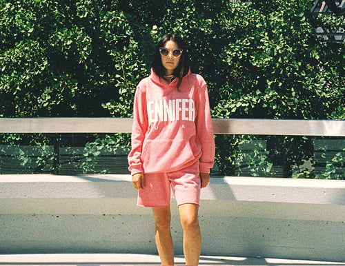 """PUFFY"" GIRLFRIEND HOODIE & ""WEEKEND"" SHORTS SET :: LIGHT PINK"