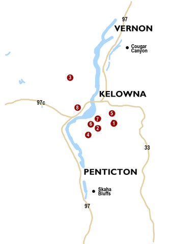 Regional map, Kelowna climbing areas