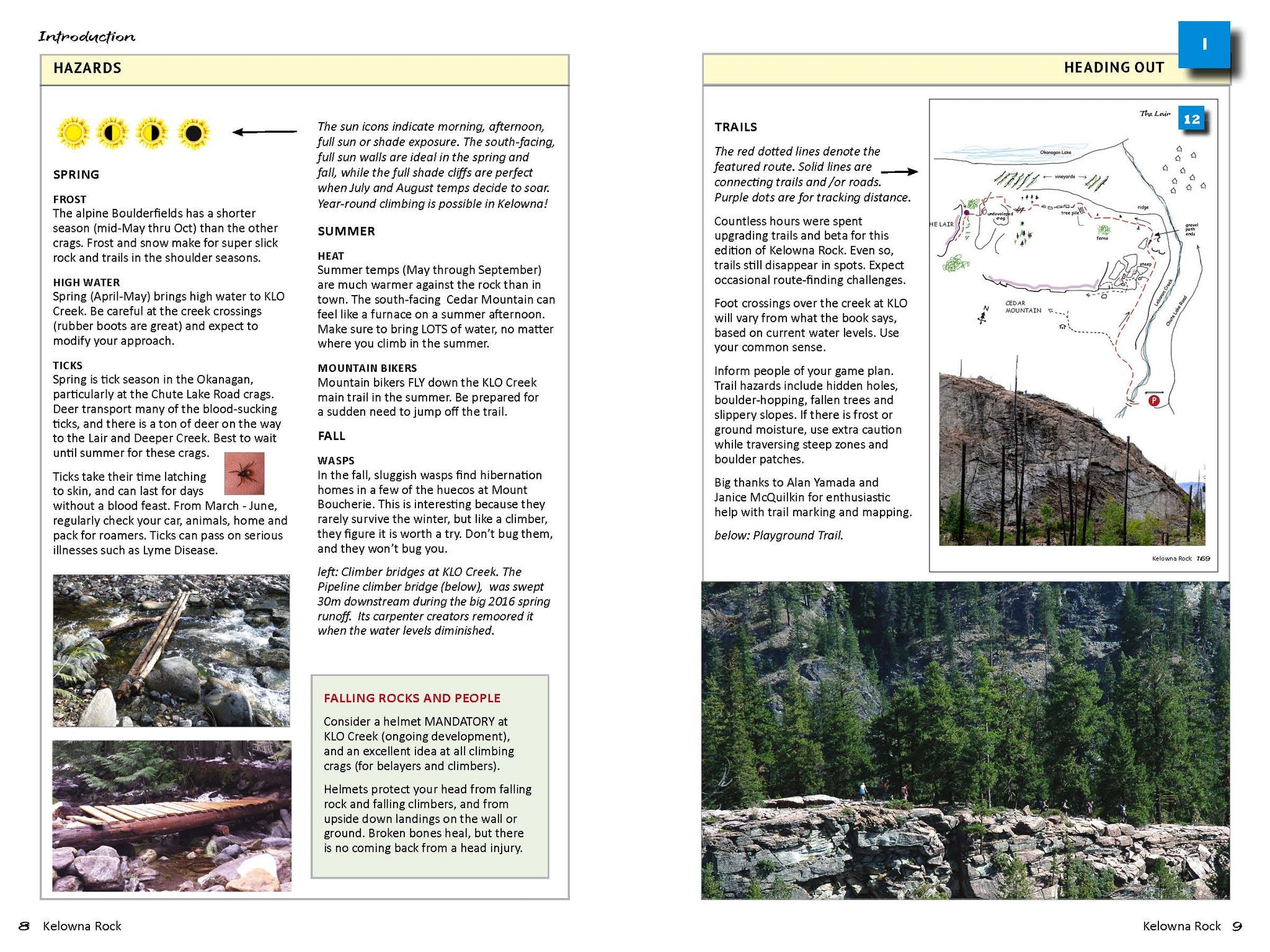 Hazards and Trails pages, Kelowna Rock Climbing guidebook
